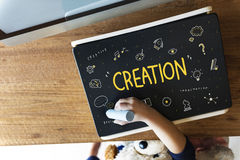 Creation Ideas Light Blue Imagination Arts Development Concept Stock Images