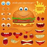 Creation kit of emoticon cartoon burger character. Vector illustration Stock Photo