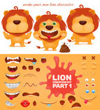 Creation kit of emoticon cartoon lion character Stock Image