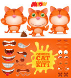 Creation kit of ginger emoticon funny cat. Vector illustration Stock Images