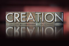 Creation Letterpress. The word Creation written in vintage letterpress type Royalty Free Stock Photography