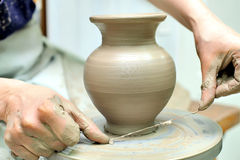The creation of pottery. Hand painted. Handmade Stock Photo