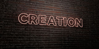 CREATION -Realistic Neon Sign on Brick Wall background - 3D rendered royalty free stock image. Can be used for online banner ads and direct mailers Royalty Free Stock Images