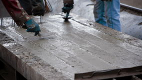 The creation of a reinforced concrete slab stock video