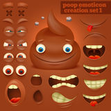 Creation set of cartoon poo emoticon character Royalty Free Stock Image