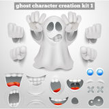 Creation set of halloween emoticon ghost cartoon character Stock Photo