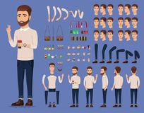 Creation set of handsome young man character with cup of coffee for create animation. Separate part of male person. Types of faces and emotions of guy. Front Stock Photo