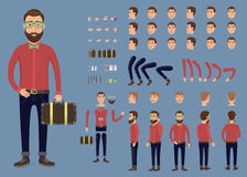 Creation set of hipster character with suitcase. Separate part of male person. Various types of faces and emotions. Front, side, b. Creation set of hipster Royalty Free Stock Photography