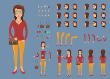 Creation set of hipster woman character with bag for create animation. Separate part of female person. Various types of faces and emotions. Front, side, back Royalty Free Stock Photography