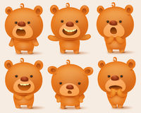 Creation set of teddy bear characters with different emotions. Vector illustration Royalty Free Stock Images