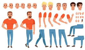 Creation set of young man, constructor for animation. Creation set of young man character, constructor for animation. Full length front and side view. Body Stock Images
