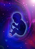 Creation Of The Universe. Silhouette illustration of human fetus on cosmic background Royalty Free Stock Photo