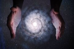 Free Creationism Concept. Hands Of God Are Creating Galaxy In Universe. Stock Images - 170736954