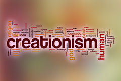 Creationism word cloud with abstract background Stock Images