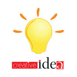 Creativ idea sign with yellow light bulb vector Stock Photo