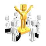 Creative 3d business man gold statue Stock Images