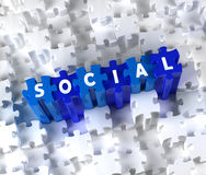 Creative 3D pieces of puzzle and word SOCIAL. Blue pieces of puzzle and word SOCIAL Royalty Free Stock Images