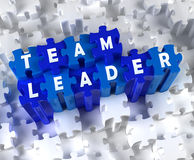 Creative 3D pieces of puzzle and words TEAM LEADER Stock Photos