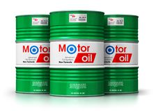Group of barrels with motor oil lubricant isolated on white back. Creative abstract automotive industry and auto repair service and maintenance concept: 3D vector illustration