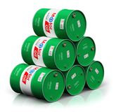 Stack of barrels with motor oil lubricant isolated on white back. Creative abstract automotive industry and auto repair service and maintenance concept: 3D vector illustration