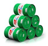 Stack of barrels with motor oil lubricant isolated on white back. Creative abstract automotive industry and auto repair service and maintenance concept: 3D stock illustration