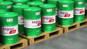 Group of stacked barrels with motor oil lubricant in warehouse vector illustration