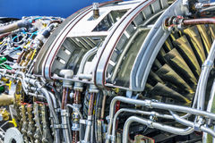 Aviation turbojet engine equipment. Creative abstract aviation industry technology concept: macro view of the airliner turbojet turbine engine equipment with Stock Image