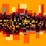 Creative Abstract Background - City Landscape. Creative abstract background. city landscape. modern style design. fantasy artistic image. vibrant orange color Stock Photo