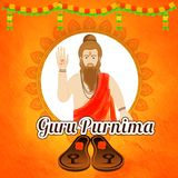 Creative abstract background decorated with floral garland and c. Haracter of Indian saint for Guru Purnima celebration Stock Photography