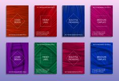 Creative abstract backgrounds for cover design. Trendy labels for beautiful packaging. Colored brochure templates.  stock illustration