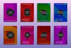 Creative abstract backgrounds for cover design. Trendy labels for beautiful packaging. Colored brochure templates.  vector illustration