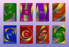 Creative abstract backgrounds for cover design. Trendy labels for beautiful packaging. Colored holographic brochure templates.  royalty free illustration