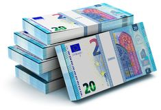 Stacks of 20 Euro banknotes. Creative abstract banking, money making and business success financial concept: 3D render illustration of the heap of stacks of 20 Stock Illustration