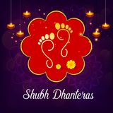 Creative illustration, poster or banner with decorated pot filled with gold coins of Happy dhanteras, diwali festival royalty free illustration