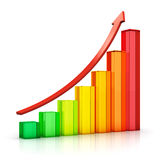 Growing bar chart with arrow Royalty Free Stock Photo