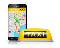 Internet taxi service concept Royalty Free Stock Images
