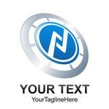 Creative abstract circle skew vector logo design template elemen. T. Colored silver blue concept icon Stock Illustration