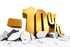 10 percent sale and discount advertisement concept. Creative abstract sale and discount business commercial advertisement concept: 3D render illustration of Royalty Free Stock Image