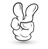 Cartoon Hand - Two Finger - Vector Illustration Royalty Free Stock Images