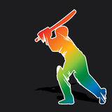 Creative abstract cricket player design by brush stroke Royalty Free Stock Images