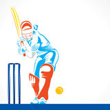 Creative abstract cricket player design by brush stroke Stock Photos
