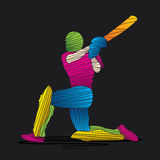 Creative abstract cricket player design by brush stroke Stock Photo