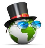 Earth globe with cylinder hat and eyeglasses. Creative abstract 3D render illustration of the Earth globe planet world map with black silk cylinder top hat and Royalty Free Stock Image