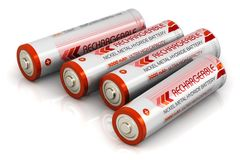 Group of AA size batteries. Creative abstract 3D render illustration of the group of four color AA type size batteries isolated on white background with royalty free illustration