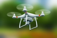 Quadcopter drone with 4K video camera flying in the air. Creative abstract 3D render illustration of professional remote controlled wireless RC quadcopter drone royalty free illustration