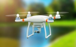 Quadcopter drone with 4K video camera flying in the air. Creative abstract 3D render illustration of professional remote controlled wireless RC quadcopter drone stock illustration