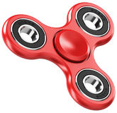 Red metal fidget spinner. Creative abstract 3D render illustration of red metal fidget spinner toy isolated on white background with reflection effect Royalty Free Stock Photography