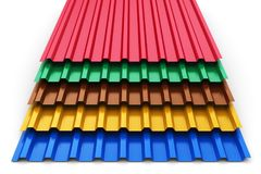 Group of color steel profile sheets Stock Images