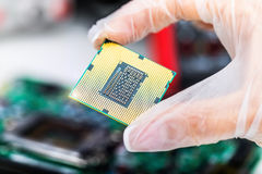 CPU processor in hand. Creative abstract digital computer PC technology and electronic industry manufacturing and production business concept; macro view of the Royalty Free Stock Photo