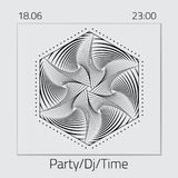 Creative abstract flyer, template or banner design with date and time. Creative abstract flyer, logo, emblem for a party. Template for DJ Poster, Web Banner Royalty Free Stock Images